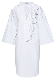 Tome Woman Cutout Ruffled Cotton-poplin Dress White