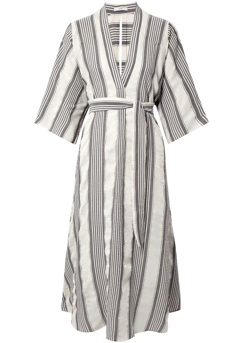 Tome Woman Cutout Striped Seersucker Midi Dress Off-white