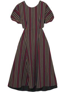 Tome Woman Flared Cutout Striped Cotton-blend Midi Dress Navy