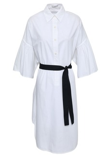 Tome Woman Fluted Belted Cotton-poplin Shirt Dress White