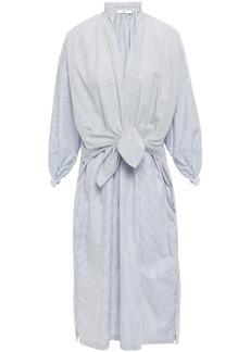 Tome Woman Layered Knotted Cotton-poplin Midi Dress Light Gray