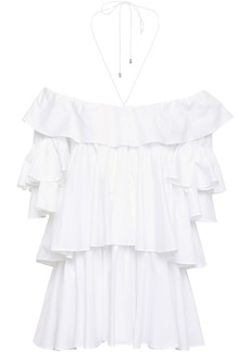 Tome Woman Off-the-shoulder Tiered Ruffled Cotton-poplin Blouse White