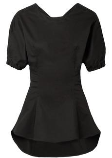 Tome Woman Open-back Stretch-cotton Poplin Top Black