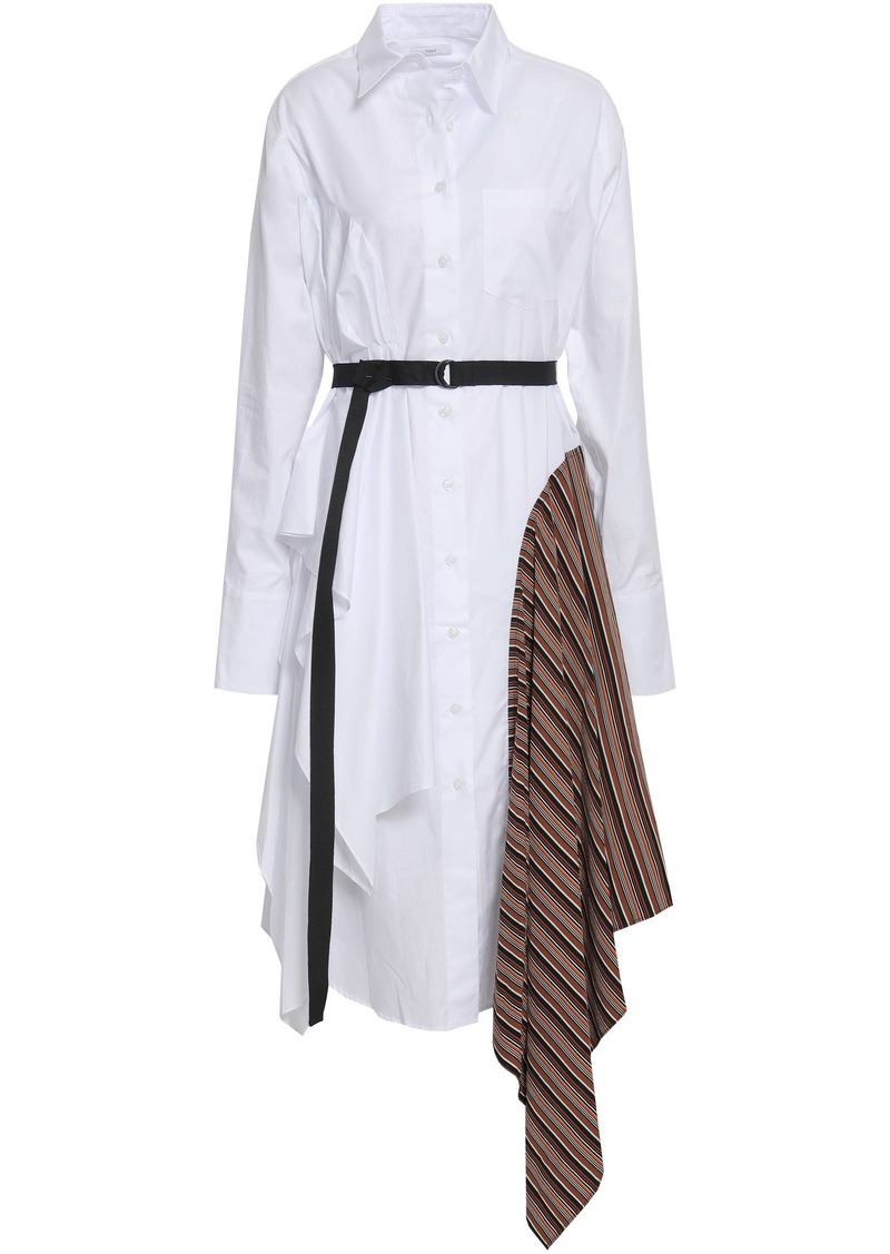 Tome Woman Paneled Striped Cotton Shirt Dress White