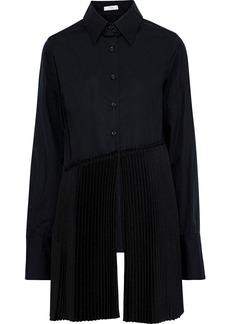 Tome Woman Pleated Crepe De Chine-paneled Cotton-poplin Shirt Black