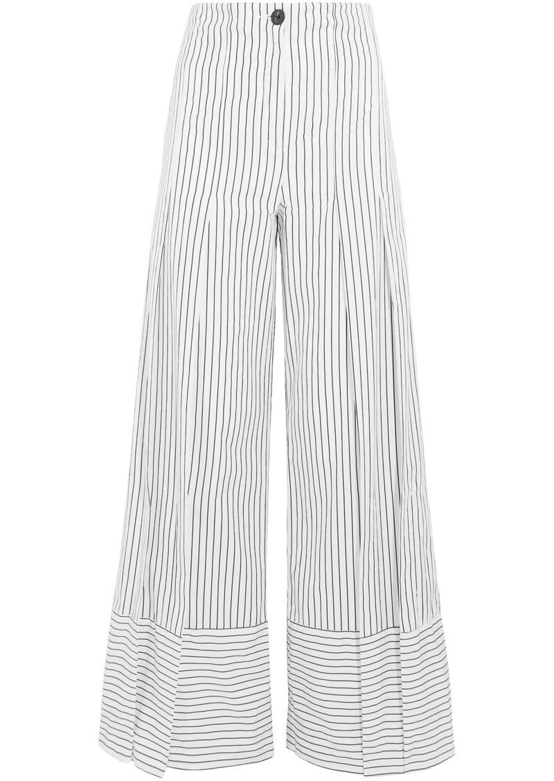 Tome Woman Pleated Striped Cotton-poplin Wide-leg Pants White