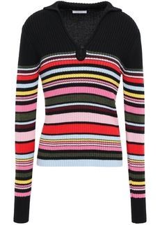 Tome Woman Ribbed Striped Wool And Cotton-blend Sweater Black