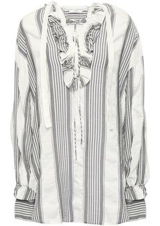 Tome Woman Lace-up Striped Gauze Tunic Gray