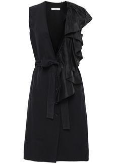 Tome Woman Ruffled Slub Cotton Vest Black