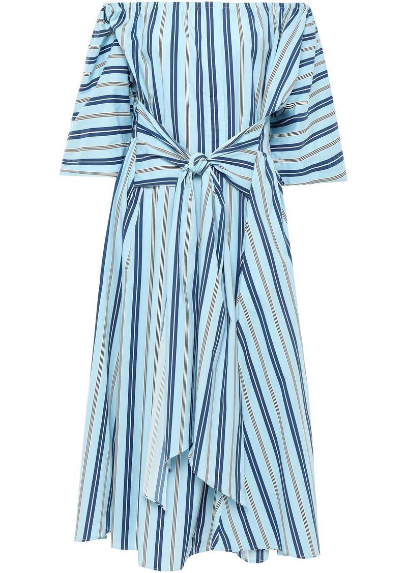 Tome Woman Off-the-shoulder Striped Stretch-cotton Midi Dress Sky Blue