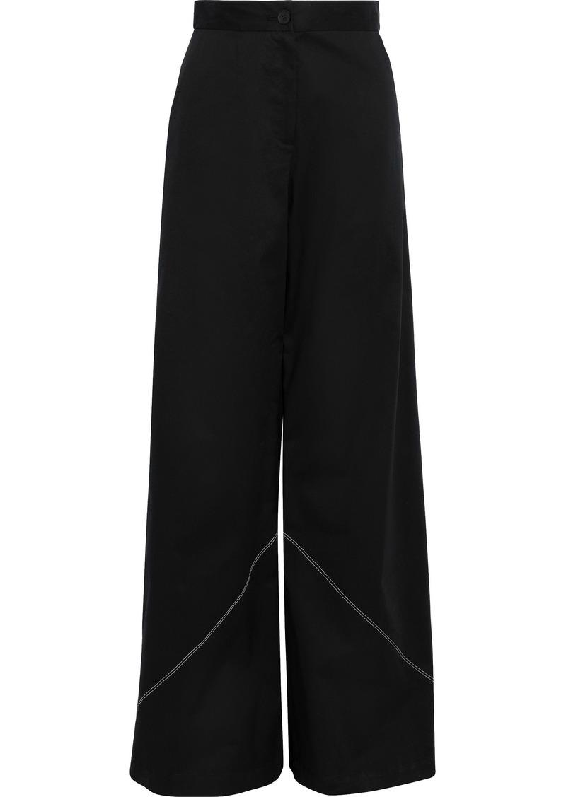 Tome Woman Stretch-cotton Poplin Wide-leg Pants Black