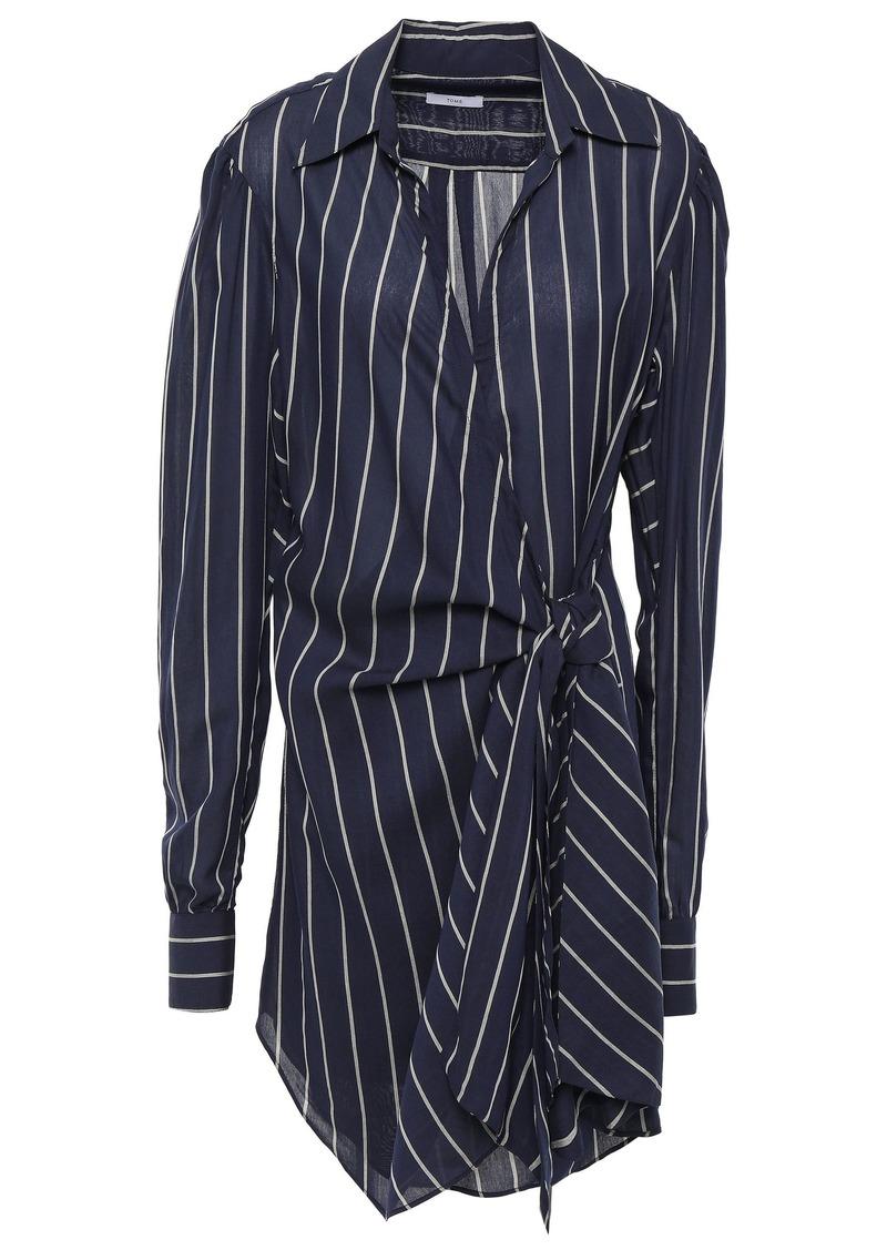 Tome Woman Striped Chiffon Wrap Dress Navy