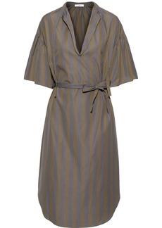 Tome Woman Striped Cotton-poplin Dress Army Green