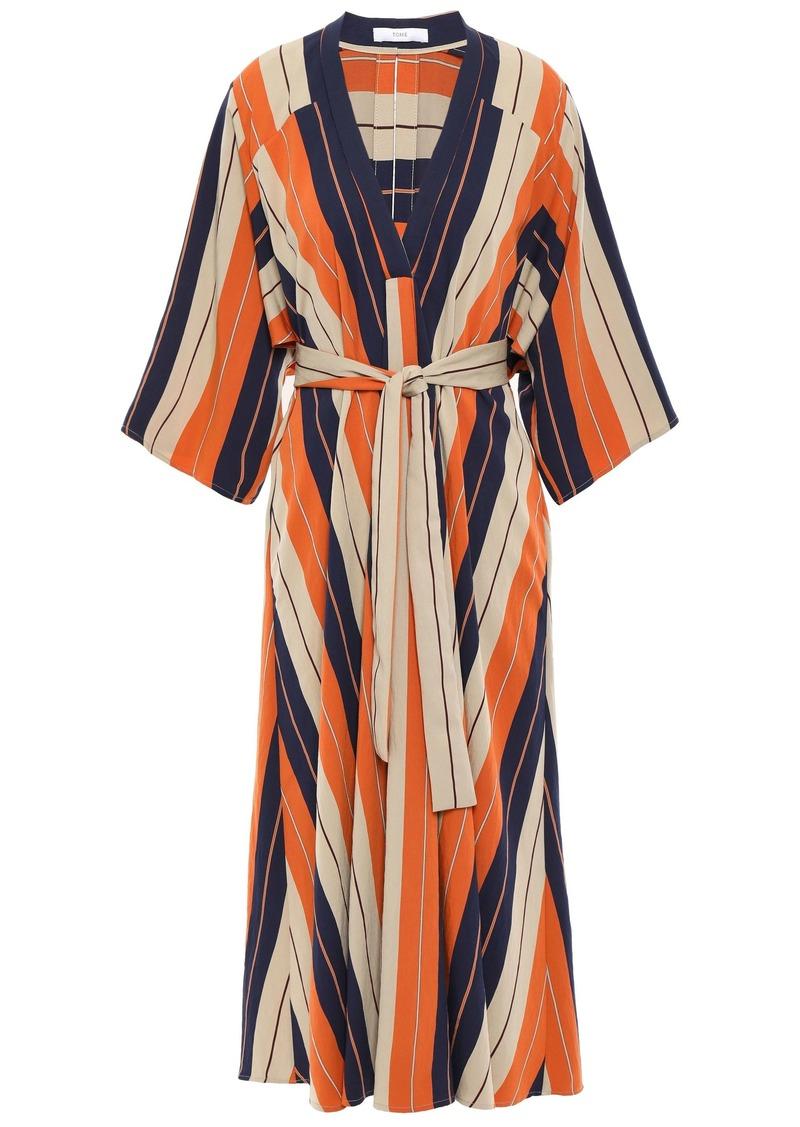Tome Woman Striped Twill Midi Dress Orange