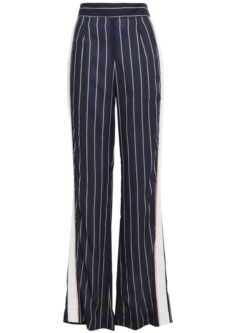 Tome Woman Striped Woven Wide-leg Pants Navy