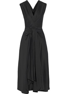 Tome Woman Tie-front Cotton-blend Poplin Midi Dress Black