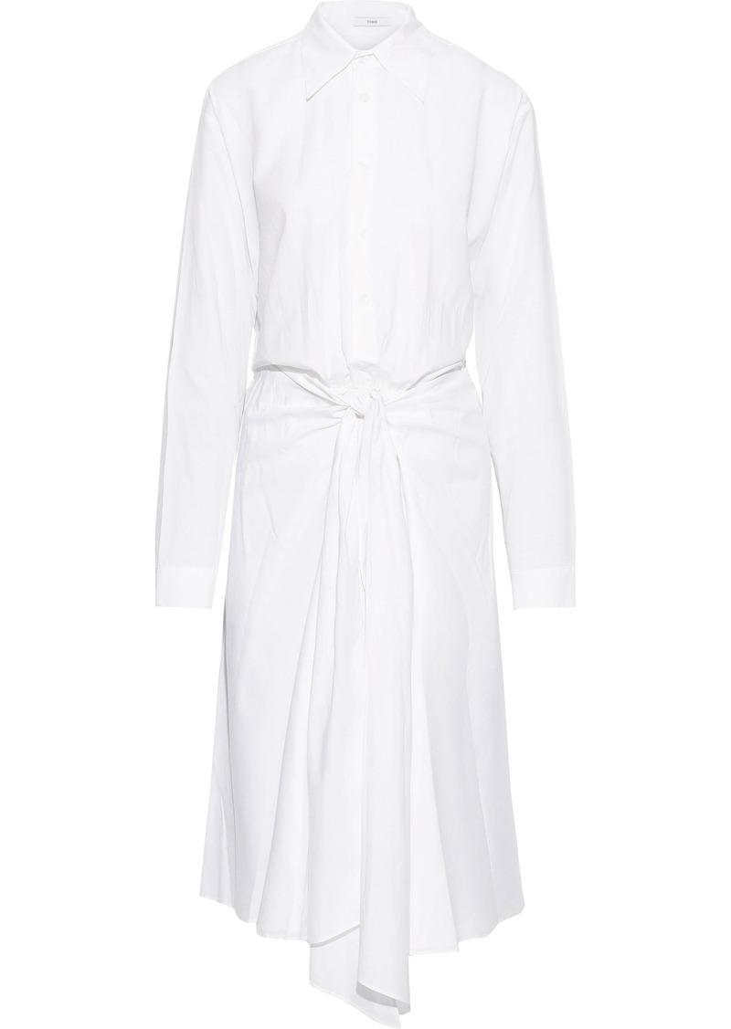 Tome Woman Tie-front Cotton-poplin Midi Shirt Dress White