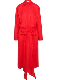 Tome Woman Tie-front Cotton-poplin Midi Shirt Dress Red