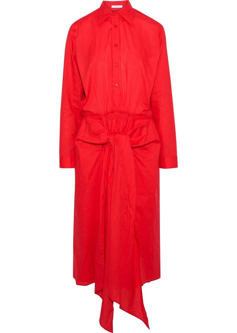 Tome Woman Tie-front Cotton-poplin Midi Shirt Dress Red