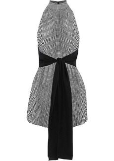 Tome Woman Tie-front Houndstooth Woven Top Black