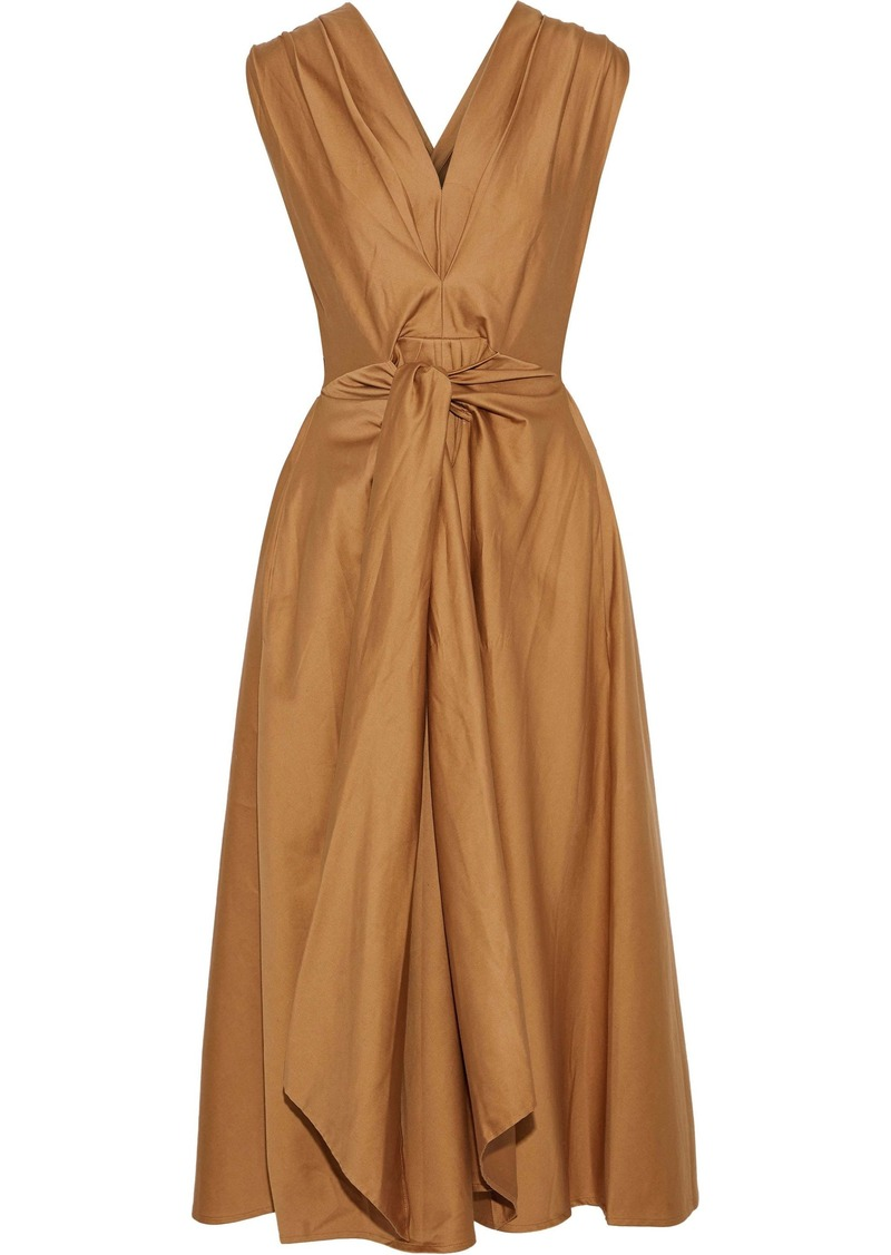 Tome Woman Tie-front Pleated Cotton-poplin Midi Dress Camel