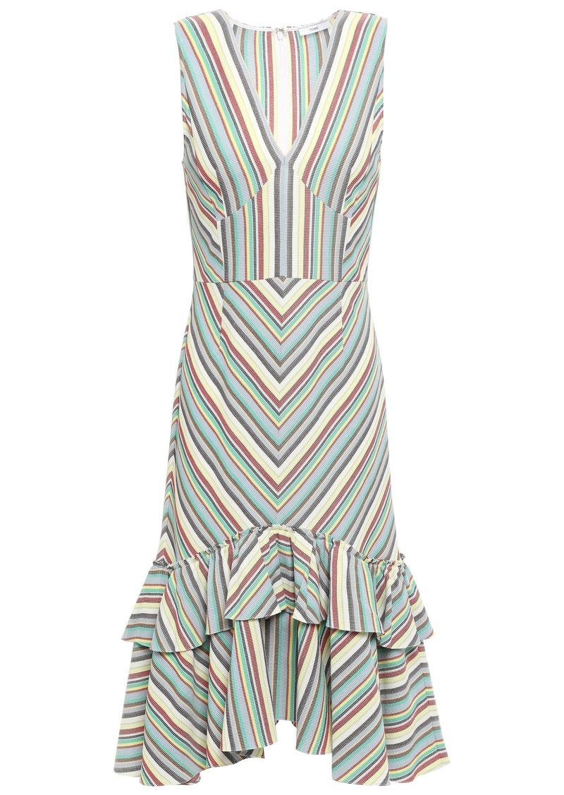Tome Woman Tiered Striped Cotton-piqué Dress Multicolor