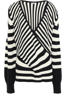 Tome Woman Wrap-effect Intarsia Wool And Cotton-blend Sweater Black
