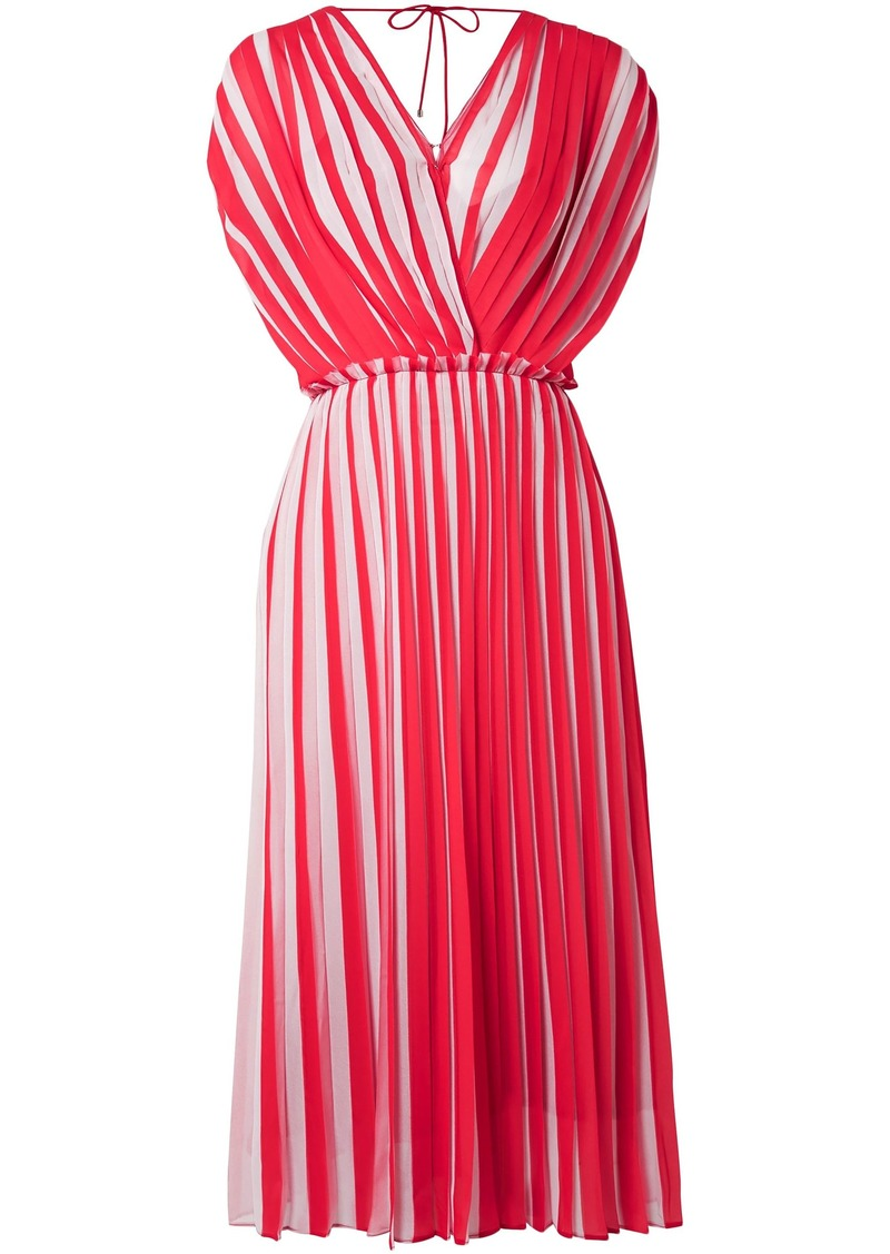 Tome Woman Wrap-effect Pleated Georgette Dress Red