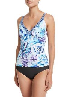 Tommy Bahama Aqua Petals Floral-Print Tankini Swim Top