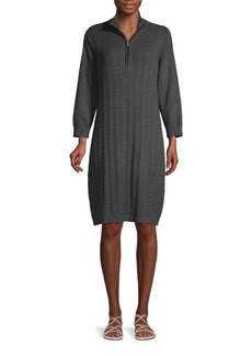 Tommy Bahama Cable-Knit Knee-Length Cotton Blend Sweater Dress