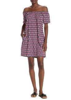 Tommy Bahama Cerise Off-The-Shoulder Geo Printed Dress