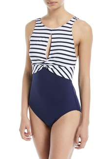 Tommy Bahama Channel Surfing Twist-Front One-Piece Swimsuit