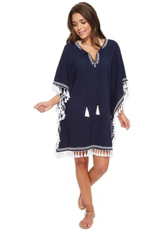 Tommy Bahama Crinkle Embroidered Tunic Cover-Up