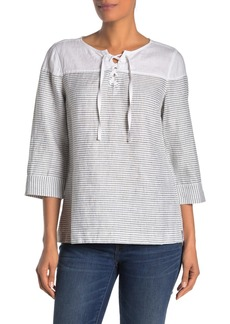 Tommy Bahama Crystalline Waters Lace-Up Linen Top