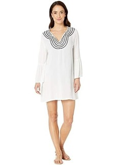 Tommy Bahama Embroidered Bell Sleeve Tunic Cover-Up