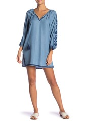 Tommy Bahama Embroidered Chambray Tunic Cover-Up