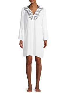 Tommy Bahama Embroidered Long Bell-Sleeve Coverup