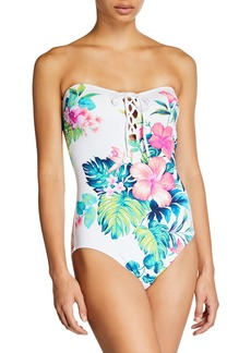 Tommy Bahama Fleur De Flora Lace-Up One-Piece Swimsuit