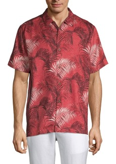 Tommy Bahama Football Fez Fronds Silk Shirt