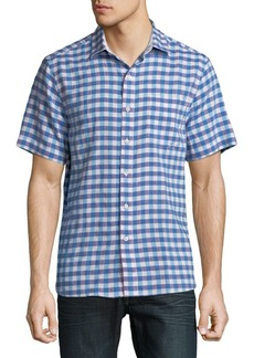 Tommy Bahama Gingham Del Toro Stretch Linen Camp Shirt