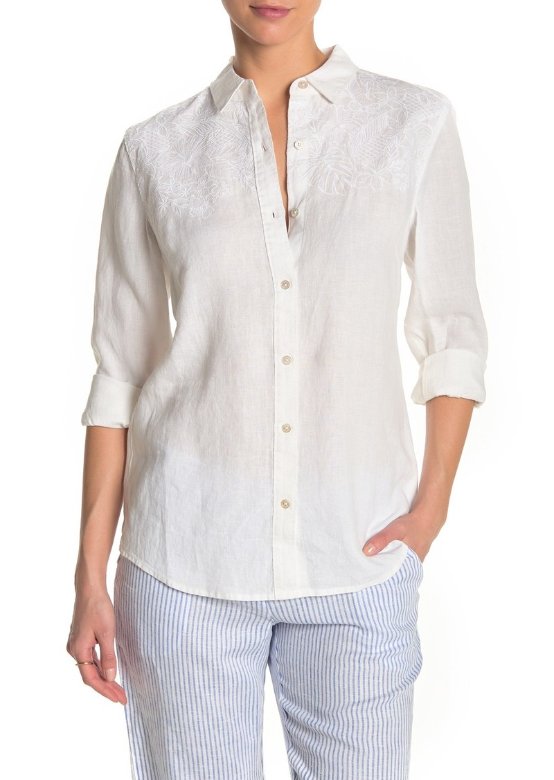 Tommy Bahama Hibiscus Tonal Embroidered Button Down Linen Shirt