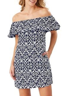 Tommy Bahama Ikat Diamond Off-The-Shoulder Linen-Blend Dress
