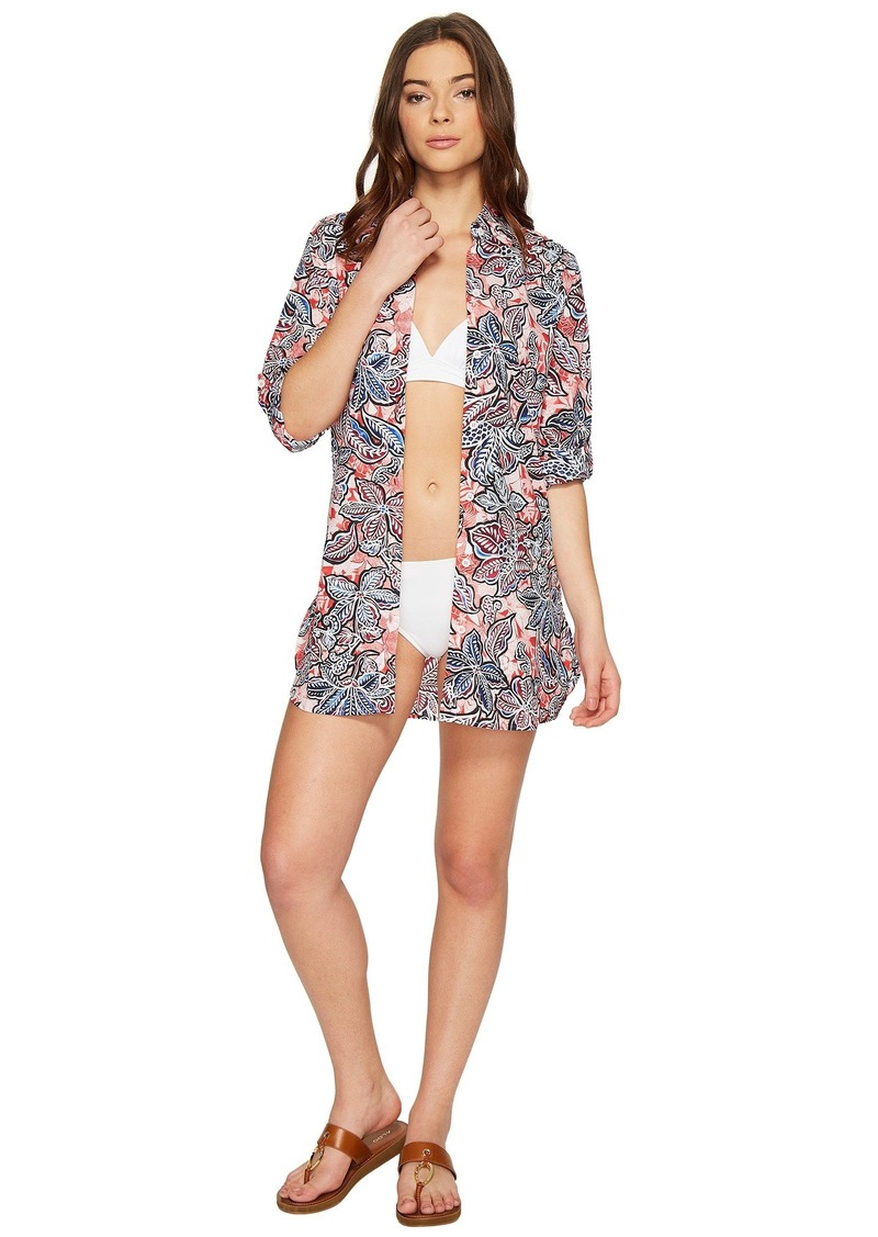 82db08df06 Tommy Bahama Java Blossom Boyfriend Shirt Cover-Up   Swimwear