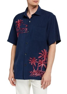 Tommy Bahama Men's Las Playa Palms Embroidered Silk Camp Sport Shirt
