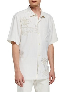 Tommy Bahama Men's Las Playa Palms Embroidered Silk Camp Sport Shirt