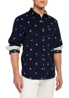 Tommy Bahama Men's Palms Away Embroidered Long-Sleeve Sports Shirt
