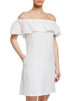 Tommy Bahama Off-the-Shoulder Short-Sleeve Linen Ruffle Dress