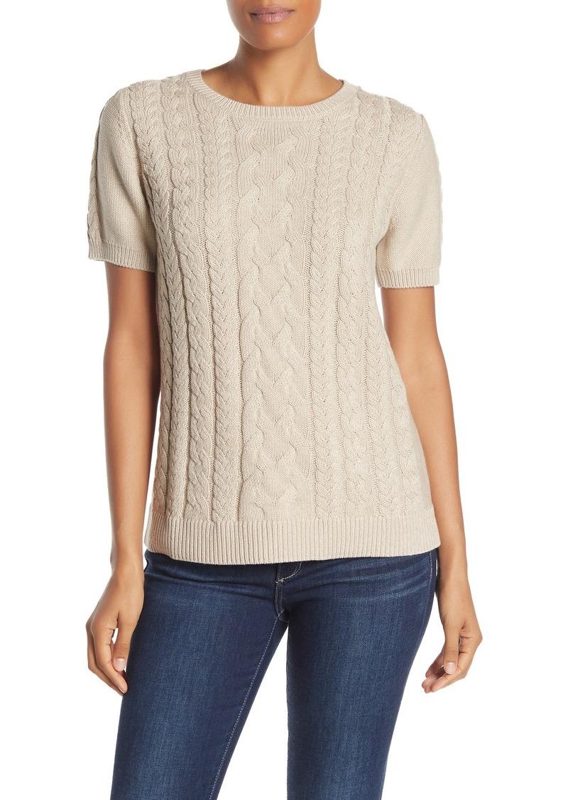 Tommy Bahama Paradise Sparkle Cable Knit Short Sleeve Sweater