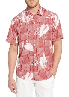 Tommy Bahama Plaza Palms Short Sleeve Silk Button-Up Classic Fit Hawaiian Shirt