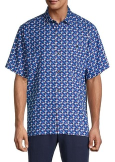 Tommy Bahama Poolside Geo Short-Sleeve Silk Shirt
